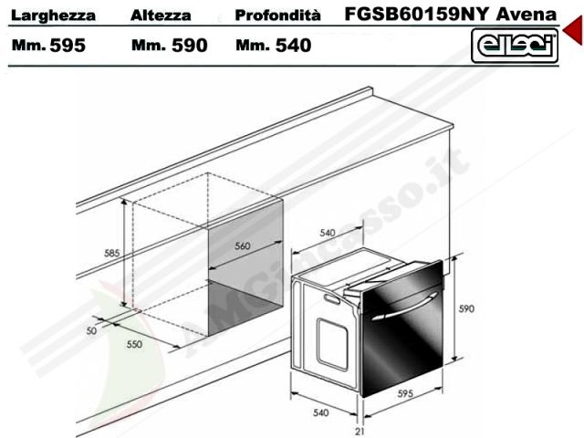 Fgsb60159ny forno bomb elleci fgsb60159ny incasso for Lavastoviglie misure standard