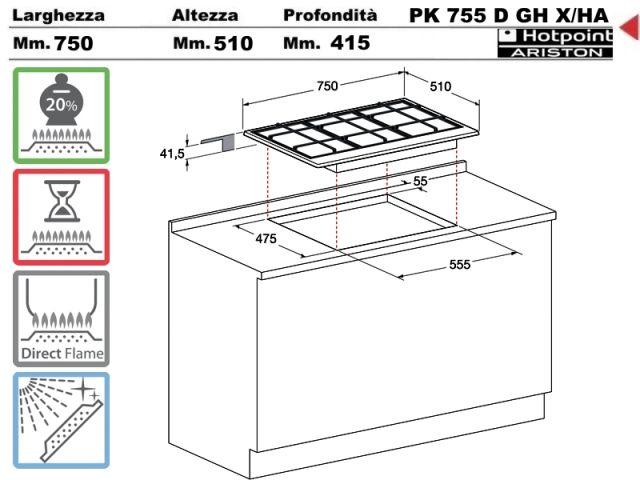 PK755DGHEX/HA - Piano Cottura 75 incasso cucina Hotpoint Ariston ...