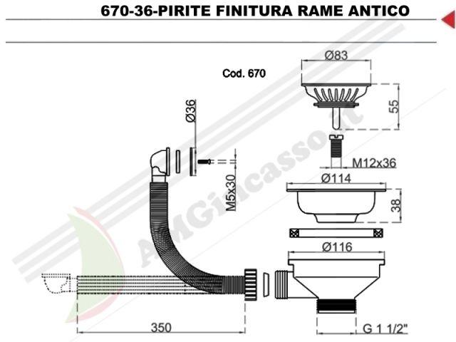 670-36-RAME - Piletta Basket 3½ Ø114 L.B.PLAST 670-36-RAME Lavello ...