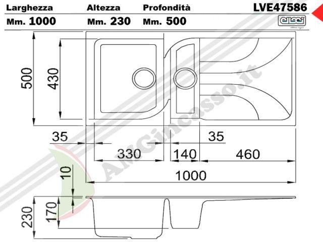 lve47586 lavello elleci ego 475 lve47586 100x50 1 vasca e mezza con gocciolatoio incasso. Black Bedroom Furniture Sets. Home Design Ideas