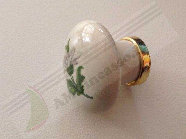 669 20 pomolo maniglia pomello 669 20 margherita porcellana ceramica ovale base ottone lucido - Pomelli ceramica per cucina ...