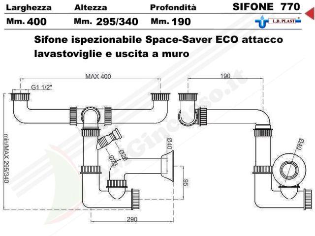 770 - sifone 2 via ispezionabile space-sever l.b.plast 770 con