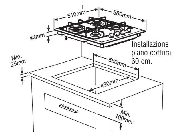 Piano cottura 60 incasso cucina inox 4 fuochi - Valvola sicurezza piano cottura ...