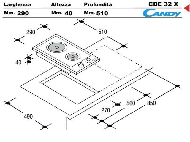 Cde32x piano cottura 30 incasso cucina candy cde32x 2 - Piastre elettriche da incasso ...