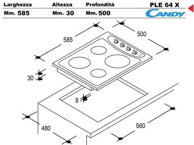 Ple64x piano cottura 60 incasso cucina candy ple64 x 4 - Piastre elettriche da incasso ...