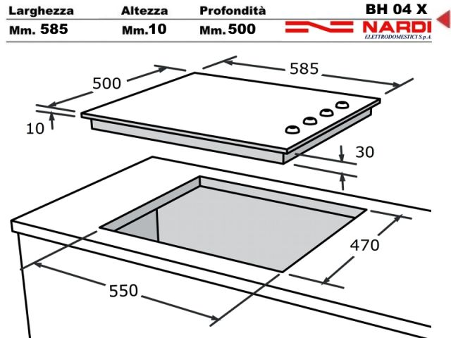 Bh04x piano cottura 60 incasso cucina nardi bh04x 4 - Piastre elettriche da incasso ...