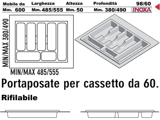 Portaposate cucina incasso in pvc grigio rifilabile per - Portaposate per cassetti ...