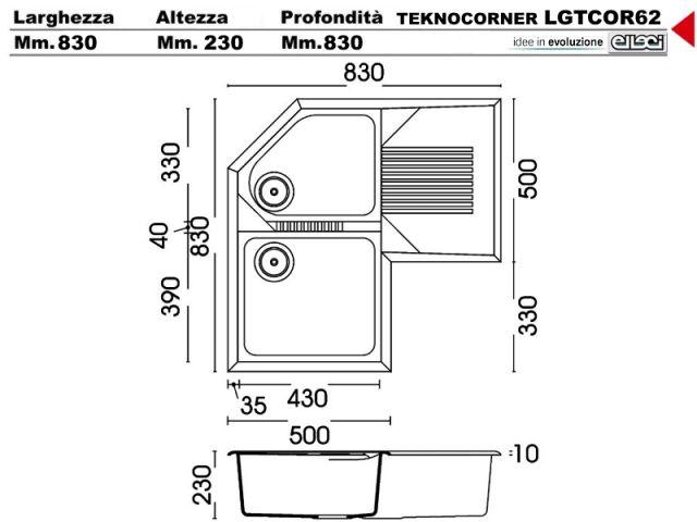 lgtcor62 - lavello elleci tekno angolare lgtcor62 830 x 830 2 ... - Dimensioni Lavelli Cucina