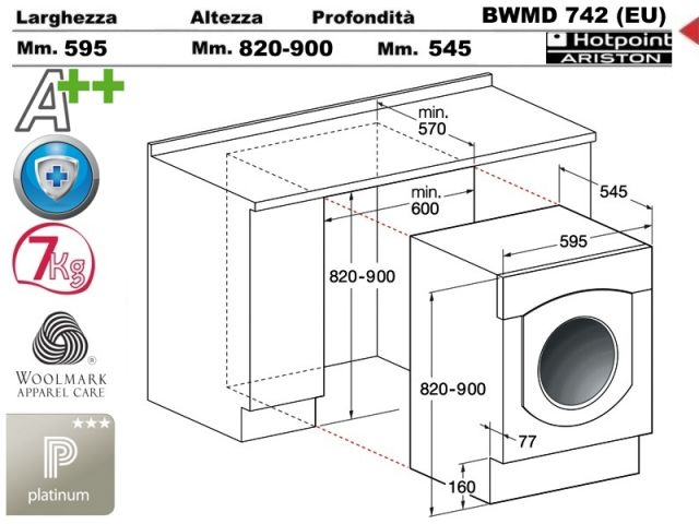 Bwmd742 eu lavabiancheria hotpoint ariston bwmd742 eu - Lavatrice altezza 75 ...
