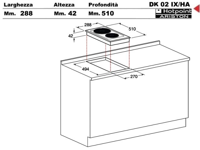 Dk02ix ha piano cottura 30 incasso cucina hotpoint - Piastre elettriche da incasso ...