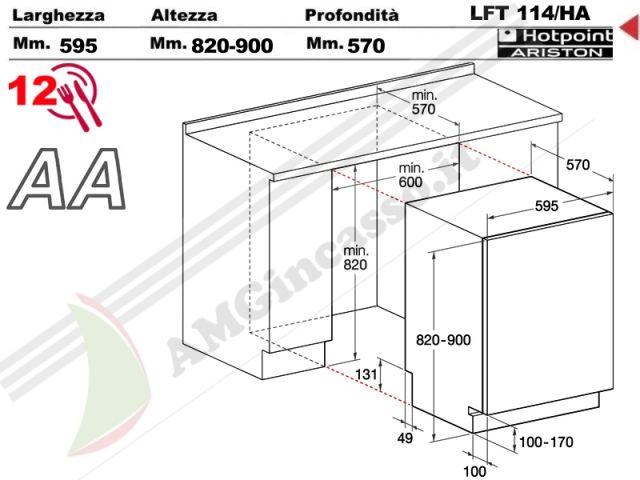 LFT114/HA.R - lavastoviglie Hotpoint Ariston Cm.60 LFT 114/HA.R ...