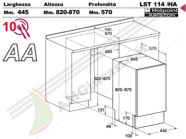 LST114/HA - lavastoviglie Hotpoint Ariston Cm.45 LST 114/HA incasso ...