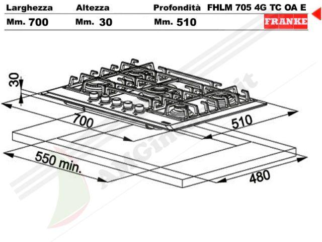 6800076 - Piano Cottura 70 incasso cucina Franke FHMR7054GTCOAE 5 ...