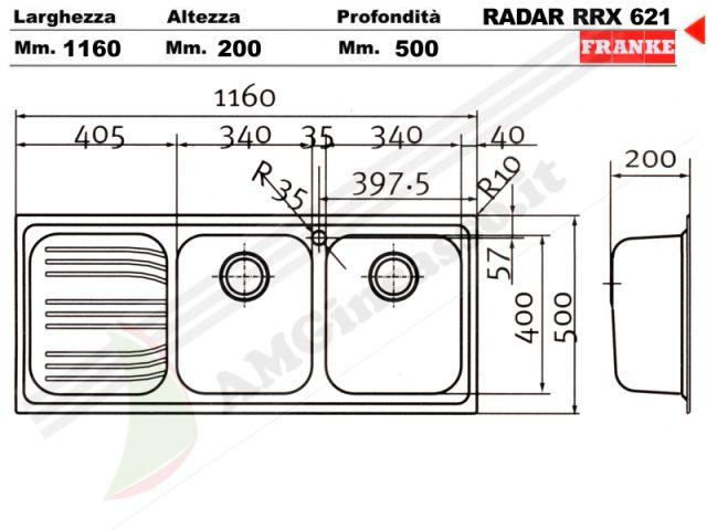 85862967 - Lavello Franke Radar RRX621 incasso cucina Acciaio Inox ...