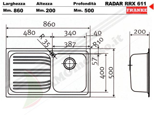 Scheda Tecnica Lavello Cucina.85862902 Lavello Franke Radar Rrx611 Incasso Cucina