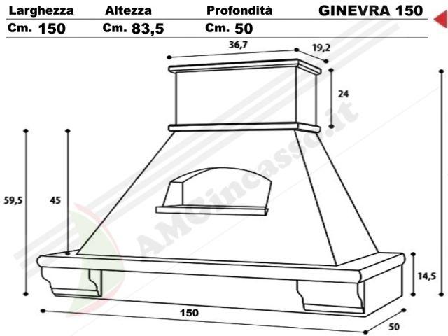GINEVRA/G/150 - Cappa Ginevra Cm.150 cucina rustica country incasso ...