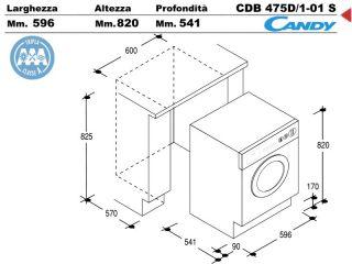 Cdb475d 1 01s lavabiancheria lavatrice incasso cucina a for Candy lavasciuga