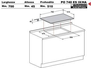 Po740esix ha piano cottura 70 incasso cucina hotpoint ariston po 740 es ix ha 4 fuochi inox - Cucina ariston 4 fuochi ...