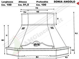 Sonia g ang cappa sonia angolo cucina rustica country incasso decorativa angolare cornice - Misure cappa cucina ...